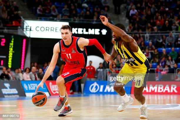 Matt Janning #11 of Baskonia Vitoria Gasteiz in action during the 2017/2018 Turkish Airlines EuroLeague Regular Season game between Baskonia Vitoria...