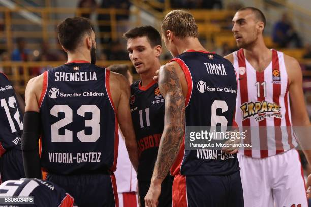Matt Janning #11 of Baskonia Vitoria Gasteiz react during the 2017/2018 Turkish Airlines EuroLeague Regular Season Round 1 game between Olympiacos...