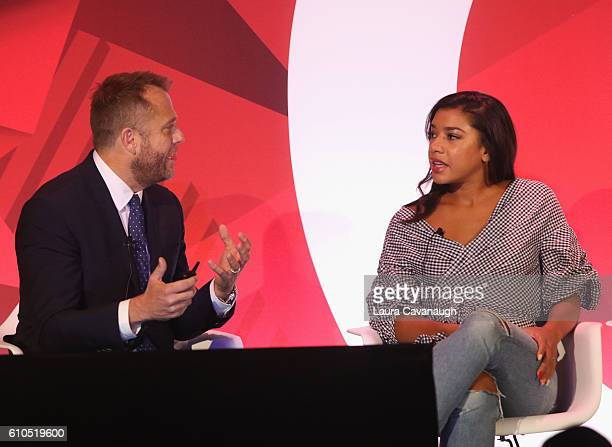 Matt Jarvis and Hannah Bronfman speak onstage during the It's Not About You A Discussion About Authenticity in Influencer Marketing panel in BB King...