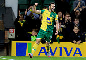 Matt Jarvis of Norwich City celebrates his opening goal during the Capital One Cup Third Round match between Norwich City and West Bromwich Albion at...