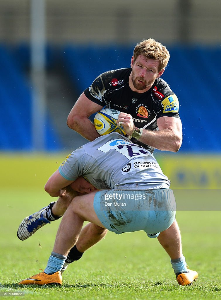 Matt Jess of Exeter Braves is tackled by Howard Packman of Northampton Wanderers during the Aviva Premiership A League Final between Exeter Braves and Northampton Wanderers at Sandy Park on May 02, 2016 in Exeter, England.