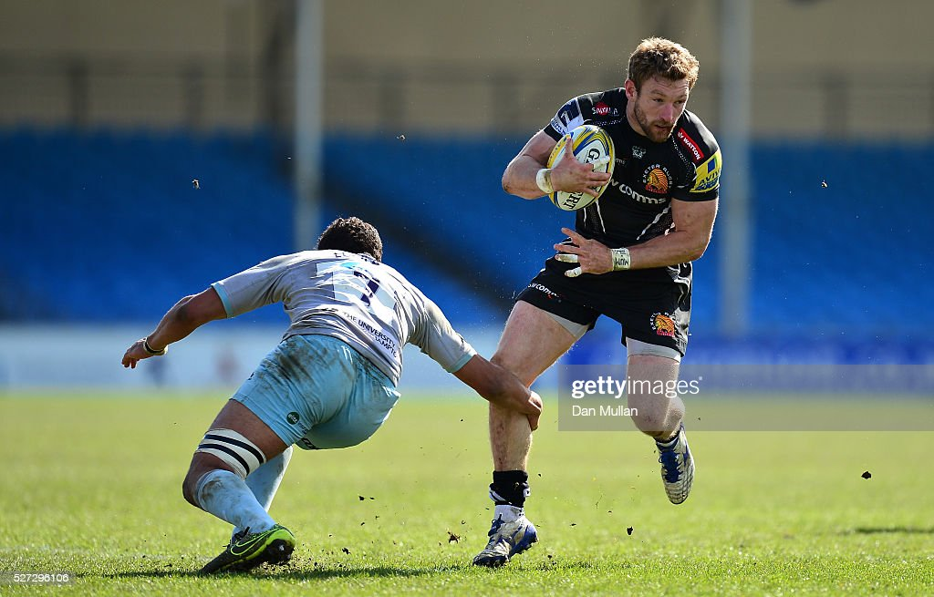 Matt Jess of Exeter Braves is tackled by Lewis Ludlam of Northampton Wanderers during the Aviva Premiership A League Final between Exeter Braves and Northampton Wanderers at Sandy Park on May 02, 2016 in Exeter, England.