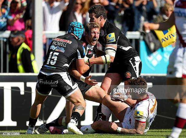 Matt Jess of Exeter celebrates scoring a try during the Aviva Premiership match between Exeter Chiefs and Sale Sharks at Sandy Park on May 16 2015 in...
