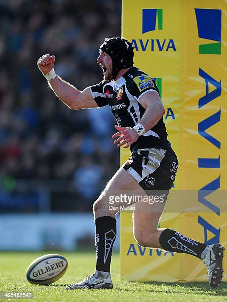 Matt Jess of Exeter Chiefs celebrates after scoring a try during the Aviva Premiership match between Exeter Chiefs and London Welsh at Sandy Park on...