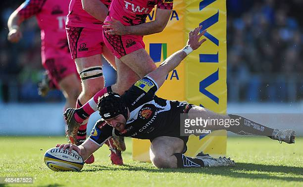 Matt Jess of Exeter Chiefs dives over for a try during the Aviva Premiership match between Exeter Chiefs and London Welsh at Sandy Park on March 7...