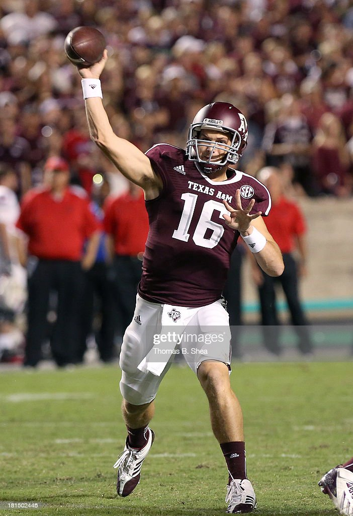 Matt Joeckel #16 of the Texas A&M Aggies passes against the Southern Methodist Mustangs in the second half on September 21, 2013 at Kyle Field in College Station, Texas.