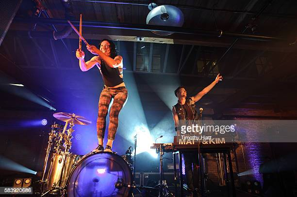 Matt Johnson and Kim Schifino of Matt and Kim perform at the Pandora Invasion at Morgan Manufacturing on July 27 2016 in Chicago Illinois