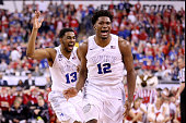 Matt Jones and Justise Winslow of the Duke Blue Devils celebrate after defeating the Wisconsin Badgers during the NCAA Men's Final Four National...