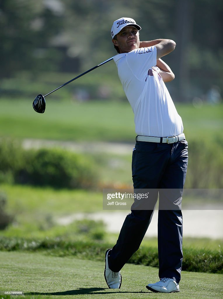 Matt Jones of Australia hits a tee shot on the sixth hole during the first round of the AT&T Pebble Beach National Pro-Am at Monterey Peninsula Country Club on February 12, 2015 in Pebble Beach, California.