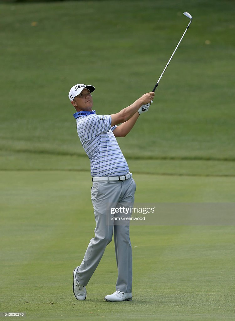 <a gi-track='captionPersonalityLinkClicked' href=/galleries/search?phrase=Matt+Jones+-+Golfer&family=editorial&specificpeople=5003125 ng-click='$event.stopPropagation()'>Matt Jones</a> of Australia plays a shot during a practice round prior to the World Golf Championships-Bridgestone Invitational at Firestone Country Club South course on June 29, 2016 in Akron, Ohio.