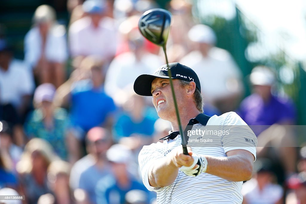 Matt Jones of Australia plays his shot from the first tee during the third round of the 2015 PGA Championship at Whistling Straits on August 15 2015...