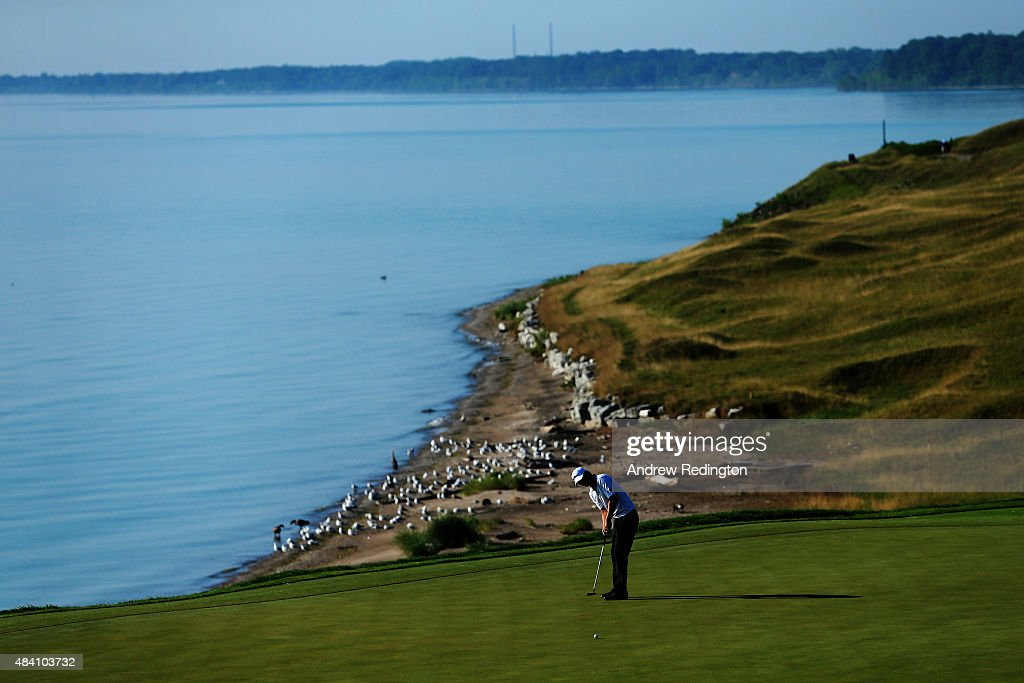Matt Jones of Australia putts on the eighth green during the continuation of the weather-delayed second round of the 2015 PGA Championship at Whistling Straits on August 15, 2015 in Sheboygan, Wisconsin.