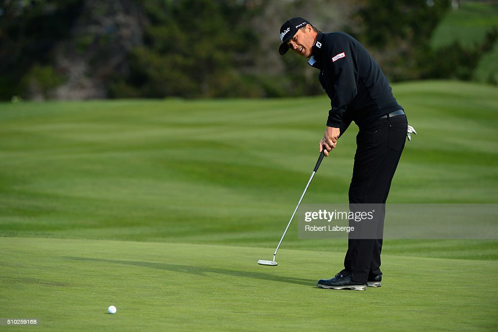 Matt Jones of Australia putts on the sixth green during the final round of the AT&T Pebble Beach National Pro-Am at the Pebble Beach Golf Links on February 14, 2016 in Pebble Beach, California.