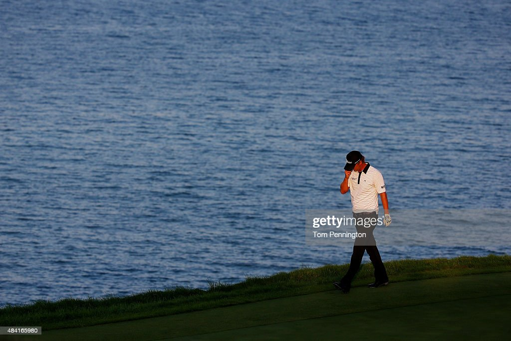 Matt Jones of Australia reacts after his shot on the 17th green during the third round of the 2015 PGA Championship at Whistling Straits at on August 15, 2015 in Sheboygan, Wisconsin.
