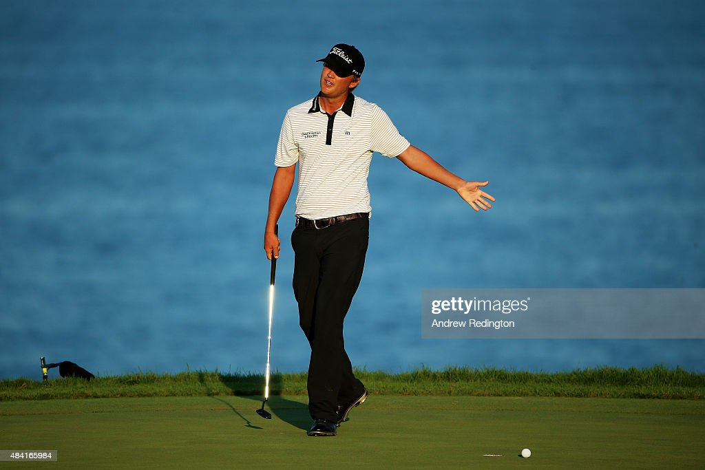 Matt Jones of Australia reacts on the 16th green during the third round of the 2015 PGA Championship at Whistling Straits at on August 15, 2015 in Sheboygan, Wisconsin.