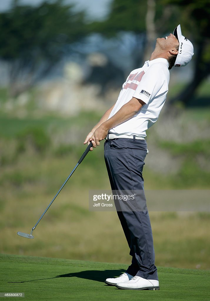 Matt Jones of Australia reacts to a missed putt on the eighth hole during the first round of the AT&T Pebble Beach National Pro-Am at Monterey Peninsula Country Club on February 12, 2015 in Pebble Beach, California.
