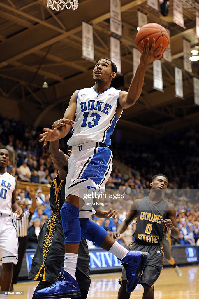 <a gi-track='captionPersonalityLinkClicked' href=/galleries/search?phrase=Matt+Jones+-+Basketball+Player&family=editorial&specificpeople=14206153 ng-click='$event.stopPropagation()'>Matt Jones</a> #13 of the Duke Blue Devils goes to the hoop against the Bowie State Bulldogs at Cameron Indoor Stadium on October 26, 2013 in Durham, North Carolina. Duke defeated Bowie State 103-67.