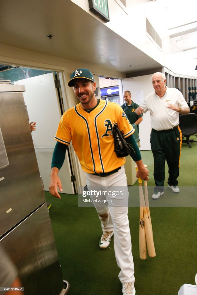 Matt Joyce #23 of the Oakland Athletics stands in the clubhouse following the game against the Kansas City Royals at the Oakland Alameda Coliseum on August 15, 2017 in Oakland, California. The Athletics defeated the Royals 10-8.