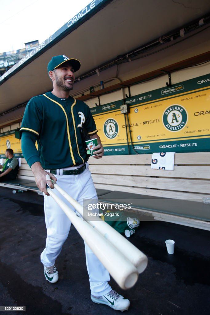 Matt Joyce #23 of the Oakland Athletics stands in the dugout prior to the game against the Tampa Bay Rays at the Oakland Alameda Coliseum on July 17, 2017 in Oakland, California. The Rays defeated the Athletics 3-2.