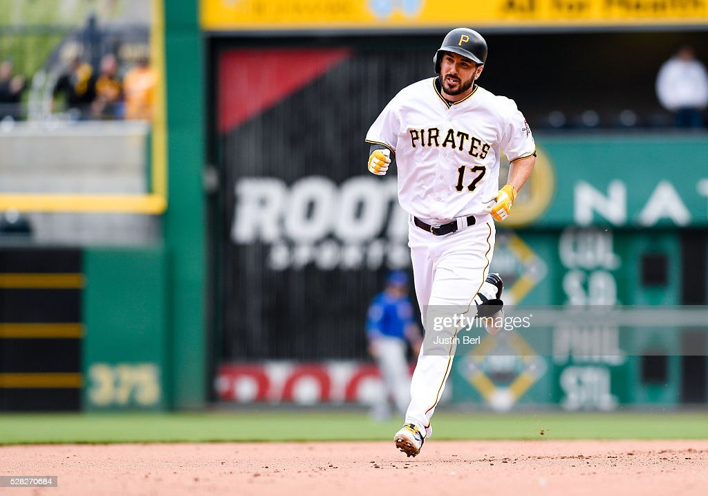 <a gi-track='captionPersonalityLinkClicked' href=/galleries/search?phrase=Matt+Joyce+-+Baseball&family=editorial&specificpeople=8640026 ng-click='$event.stopPropagation()'>Matt Joyce</a> #17 of the Pittsburgh Pirates rounds the bases after hitting a two-run home run in the seventh inning during the game against the Chicago Cubs at PNC Park on May 4, 2016 in Pittsburgh, Pennsylvania.