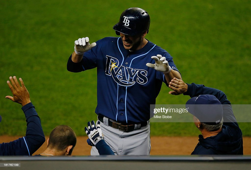 Matt Joyce #20 of the Tampa Bay Rays celebrates after hitting a lead off home run in the first inning against the New York Yankees at Yankee Stadium on September 24, 2013 in the Bronx borough of New York City. The Rays defeated the Yankees 7-0.
