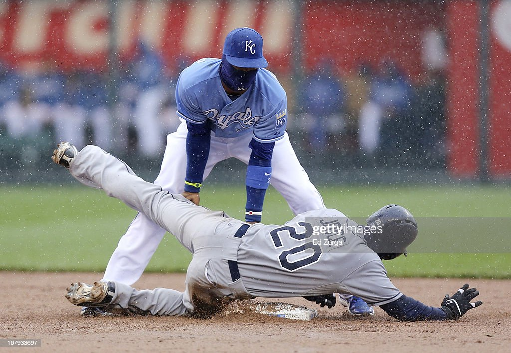 Matt Joyce #20 of the Tampa Bay Rays is tagged by Alcides Escobar #2 of the Kansas City Royals as he tries to steal second in the third inning at Kauffman Stadium on May 2, 2013 in Kansas City, Missouri.