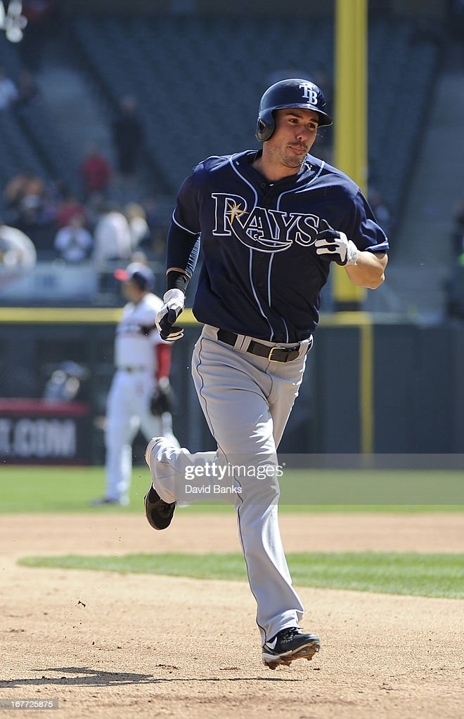 Matt Joyce #20 of the Tampa Bay Rays runs the bases after hitting a two run homer against the Chicago White Sox during the sixth inning on April 28, 2013 at U.S. Cellular Field in Chicago, Illinois.