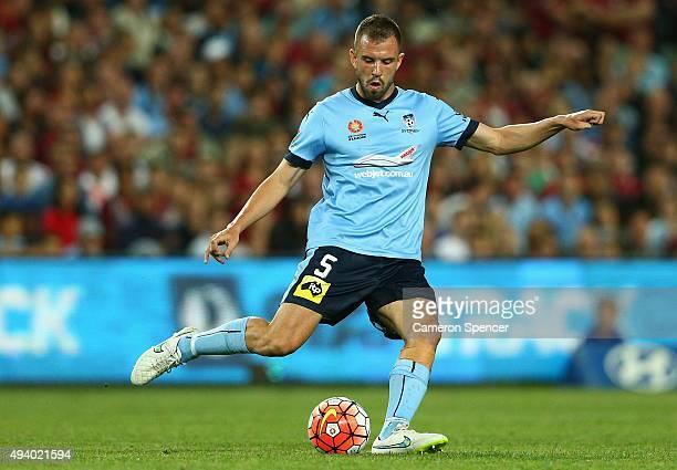 Matt Jurman of Sydney FC kicks during the round three ALeague match between Sydney FC and Western Sydney Wanderers at Allianz Stadium on October 24...