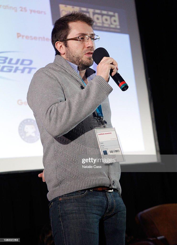 Matt Kane speaks at the GLAAD Panel at the Filmmaker Lodge during the 2011 Sundance Film Festival on January 25, 2011 in Park City, Utah.