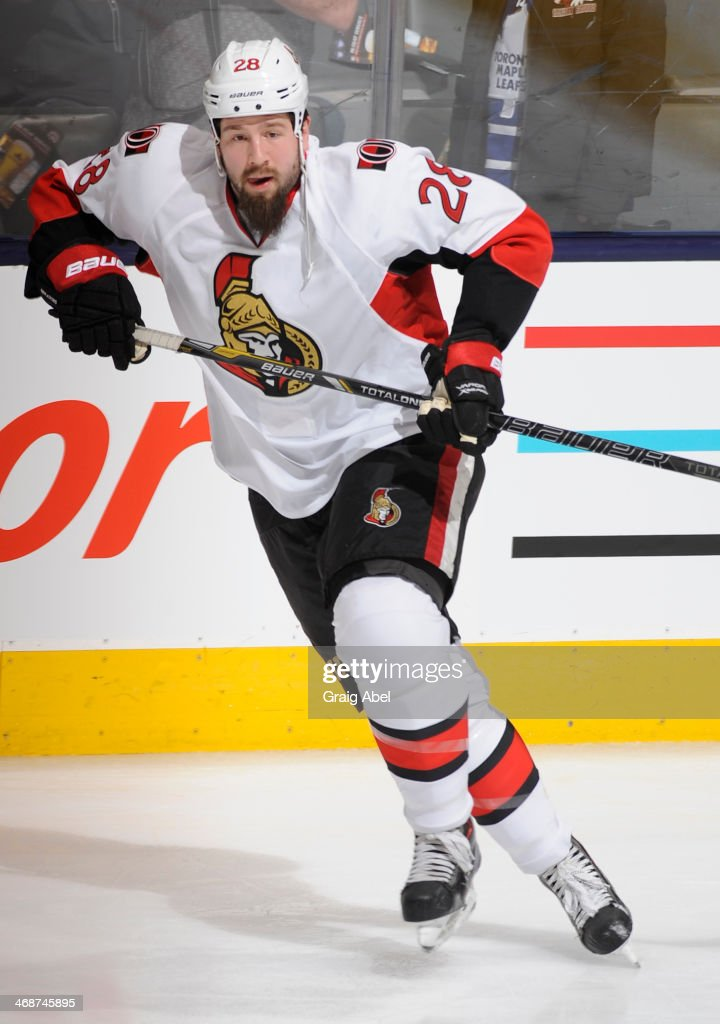 Matt Kassian of Ottawa Senators skates during warm up prior to NHL game action against the Toronto Maple Leafs February 1 2014 at the Air Canada...