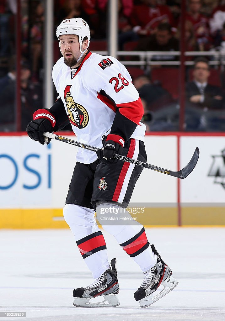 Matt Kassian of the Ottawa Senators in action during the NHL game against the Phoenix Coyotes at Jobingcom Arena on October 15 2013 in Glendale...