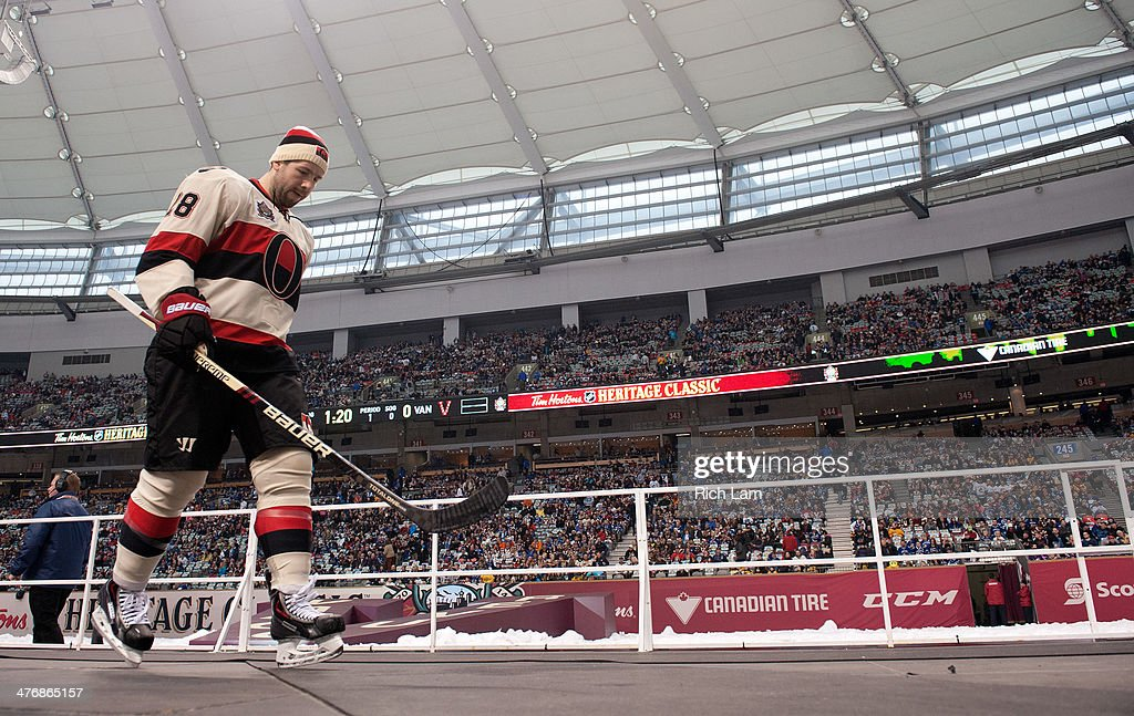Matt Kassian of the Ottawa Senators leaves the ice after the pregame warm up prior to NHL action against the Vancouver Canucks on March 02 2014 at...