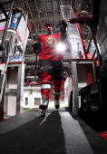 Matt Kassian of the Ottawa Senators leaves the ice after warmup prior to a game against the Florida Panthers at Canadian Tire Centre on November 9...