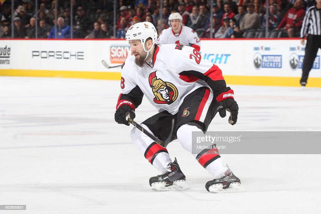 Matt Kassian of the Ottawa Senators skates against the Colorado Avalanche at the Pepsi Center on January 08 2014 in Denver Colorado