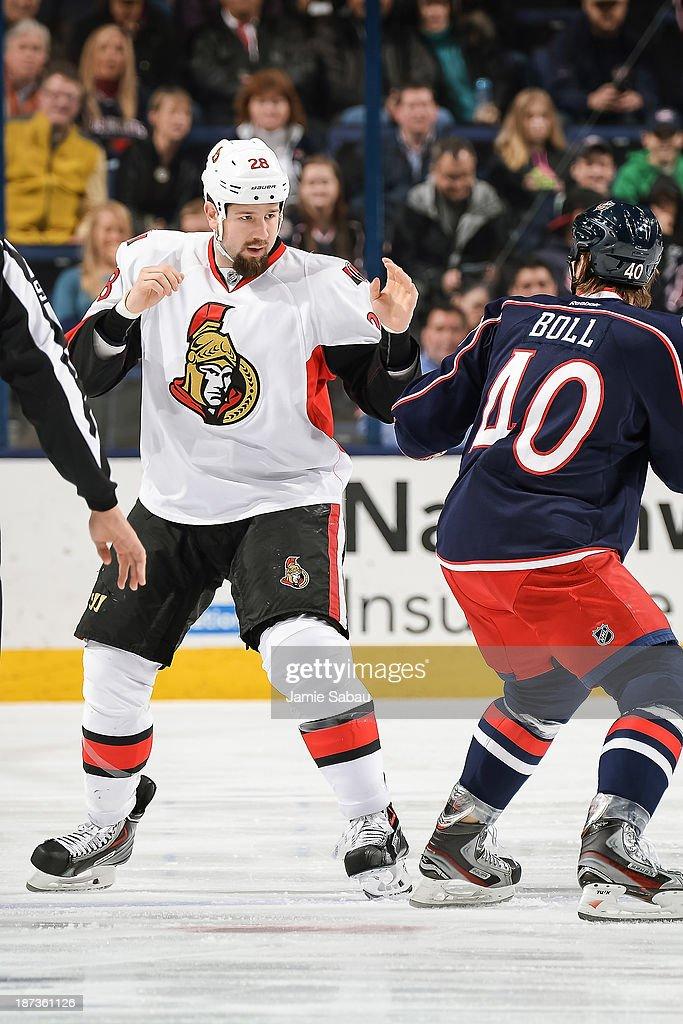 Matt Kassian of the Ottawa Senators skates against the Columbus Blue Jackets on November 5 2013 at Nationwide Arena in Columbus Ohio