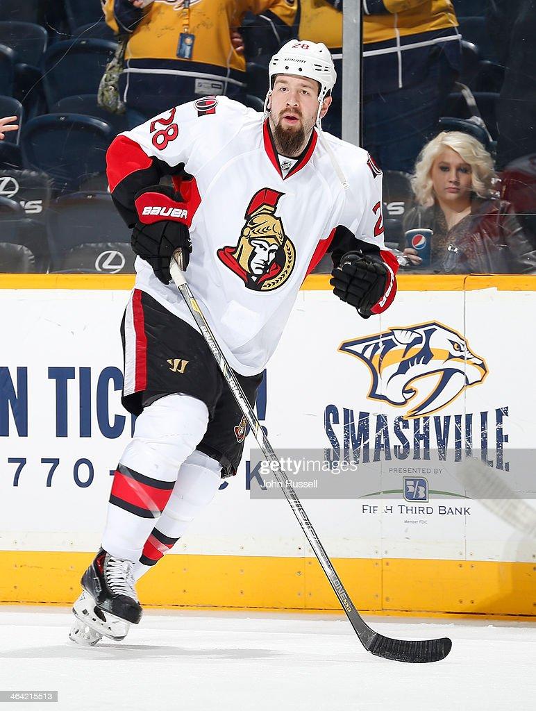 Matt Kassian of the Ottawa Senators skates against the Nashville Predators at Bridgestone Arena on January 11 2014 in Nashville Tennessee