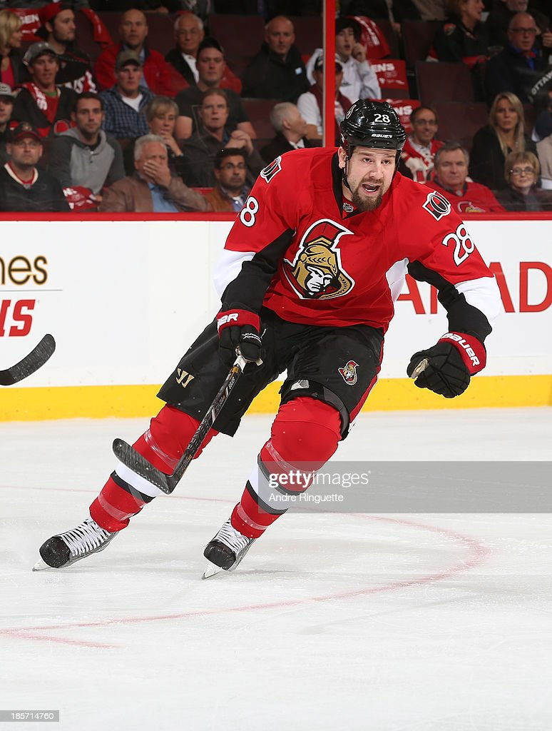 Matt Kassian of the Ottawa Senators skates against the New Jersey Devils at Canadian Tire Centre on October 17 2013 in Ottawa Ontario Canada