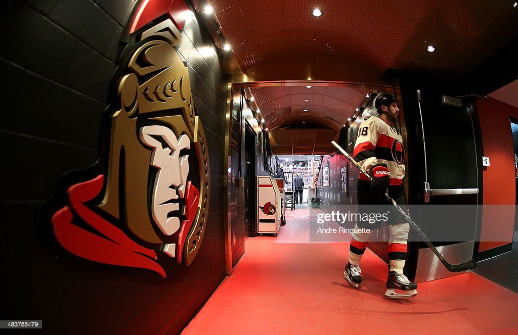 Matt Kassian of the Ottawa Senators walks down the players' tunnel after warmup prior to a game against the Montreal Canadiens at Canadian Tire...