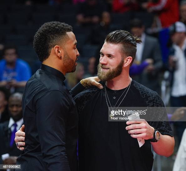 Matt Kemp and Bryce Harper attends a basketball game between the Brooklyn Nets and the Los Angeles Clippers at Staples Center on January 22 2015 in...