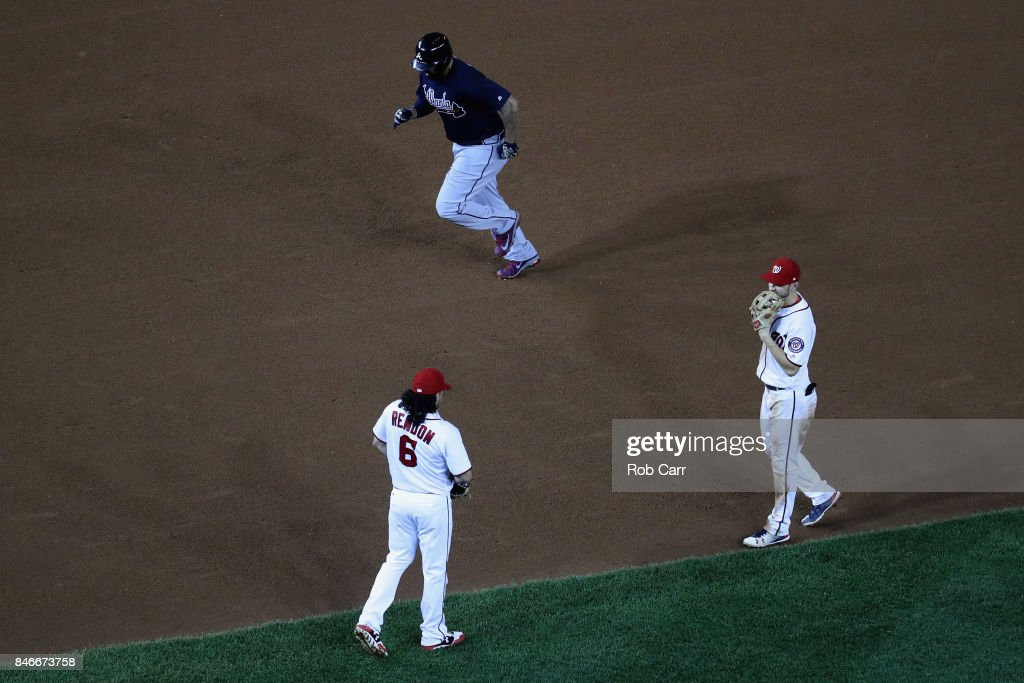 Matt Kemp #27 of the Atlanta Braves jogs around the bases after hitting a grand slam against the Washington Nationals in the seventh inning at Nationals Park on September 13, 2017 in Washington, DC.