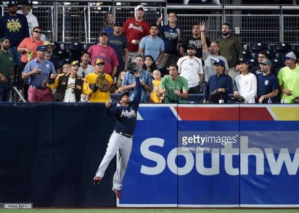 Matt Kemp of the Atlanta Braves makes the catch on ball hit by Erick Aybar of the San Diego Padres a during the fourth inning of a baseball game at...