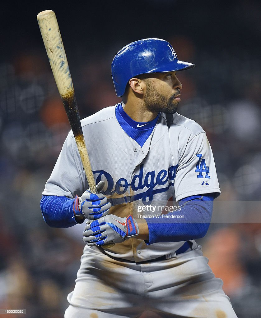 Matt Kemp of the Los Angeles Dodgers bats against the San Francisco Giants at AT&T Park on April 15, 2014 in San Francisco, California. Every team member is wearing the jersey #42 in honor of Jackie Robinson Day.