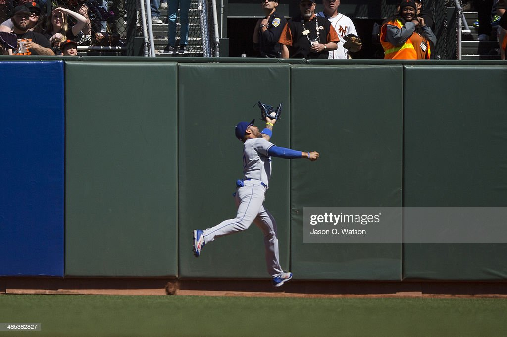 Matt Kemp #27 of the Los Angeles Dodgers catches a fly ball off the bat of Michael Morse (not pictured) of the San Francisco Giants during the sixth inning at AT&T Park on April 17, 2014 in San Francisco, California.