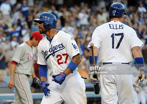 Matt Kemp of the Los Angeles Dodgers celebrates after scoring in the first inning against the Philadelphia Phillies at Dodger Stadium on June 27 2013...