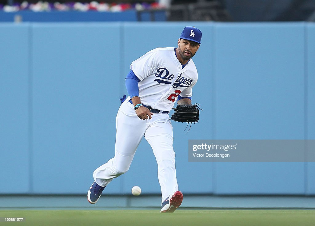 Matt Kemp #27 of the Los Angeles Dodgers glove the ball from a single to center field by Starling Marte #6 of the Pittsburgh Pirates (not in photo) during the first inning in their MLB game at Dodger Stadium on April 6, 2013 in Los Angeles, California.