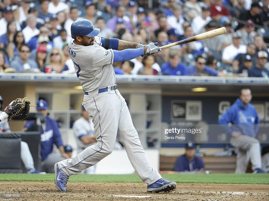 <a gi-track='captionPersonalityLinkClicked' href=/galleries/search?phrase=Matt+Kemp&family=editorial&specificpeople=567161 ng-click='$event.stopPropagation()'>Matt Kemp</a> #27 of the Los Angeles Dodgers hits a two-run homer during the sixth inning of a baseball game against the San Diego Padres at Petco Park on September 26, 2012 in San Diego, California.