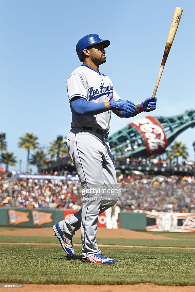 Matt Kemp #27 of the Los Angeles Dodgers returns to the dugout after striking out against the San Francisco Giants during the eighth inning at AT&T Park on April 17, 2014 in San Francisco, California. The Los Angeles Dodgers defeated the San Francisco Giants 2-1.