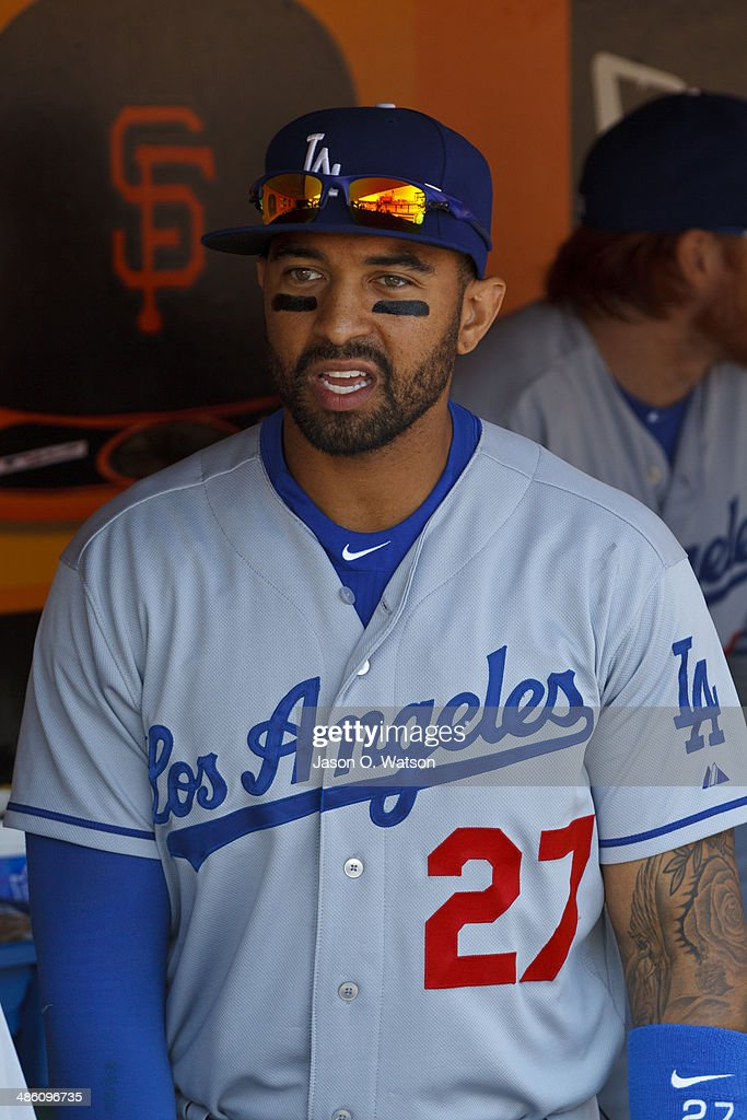 Matt Kemp #27 of the Los Angeles Dodgers stands in the dugout before the game against the San Francisco Giants at AT&T Park on April 17, 2014 in San Francisco, California. The Los Angeles Dodgers defeated the San Francisco Giants 2-1.