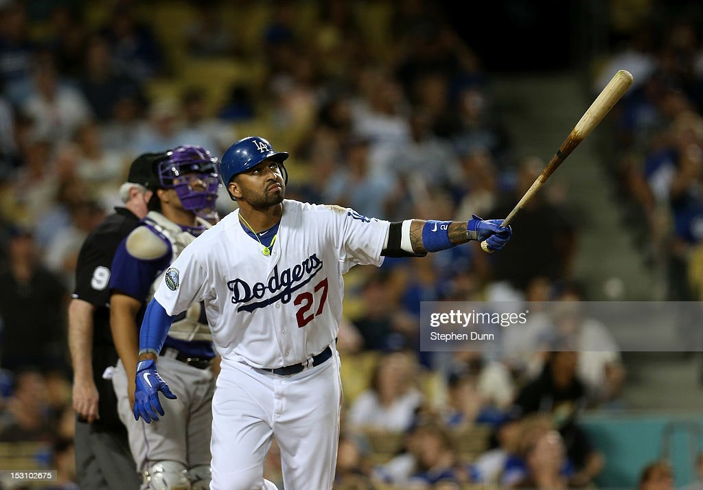 <a gi-track='captionPersonalityLinkClicked' href=/galleries/search?phrase=Matt+Kemp&family=editorial&specificpeople=567161 ng-click='$event.stopPropagation()'>Matt Kemp</a> #27 of the Los Angeles Dodgers watches his second solo home run of the game in the eighth inning against the Colorado Rockies on September 29, 2012 at Dodger Stadium in Los Angeles, California.