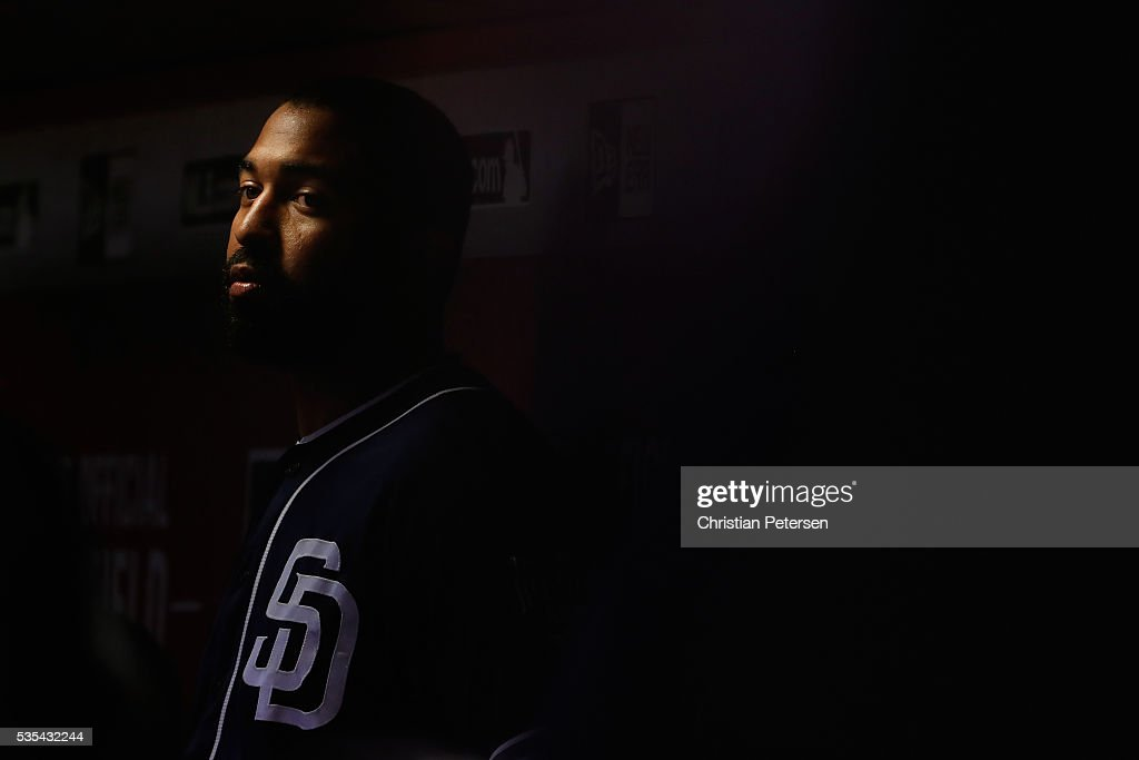 <a gi-track='captionPersonalityLinkClicked' href=/galleries/search?phrase=Matt+Kemp&family=editorial&specificpeople=567161 ng-click='$event.stopPropagation()'>Matt Kemp</a> #27 of the San Diego Padres watches from the dugout during the fourth inning of the MLB game against the Arizona Diamondbacks at Chase Field on May 29, 2016 in Phoenix, Arizona.